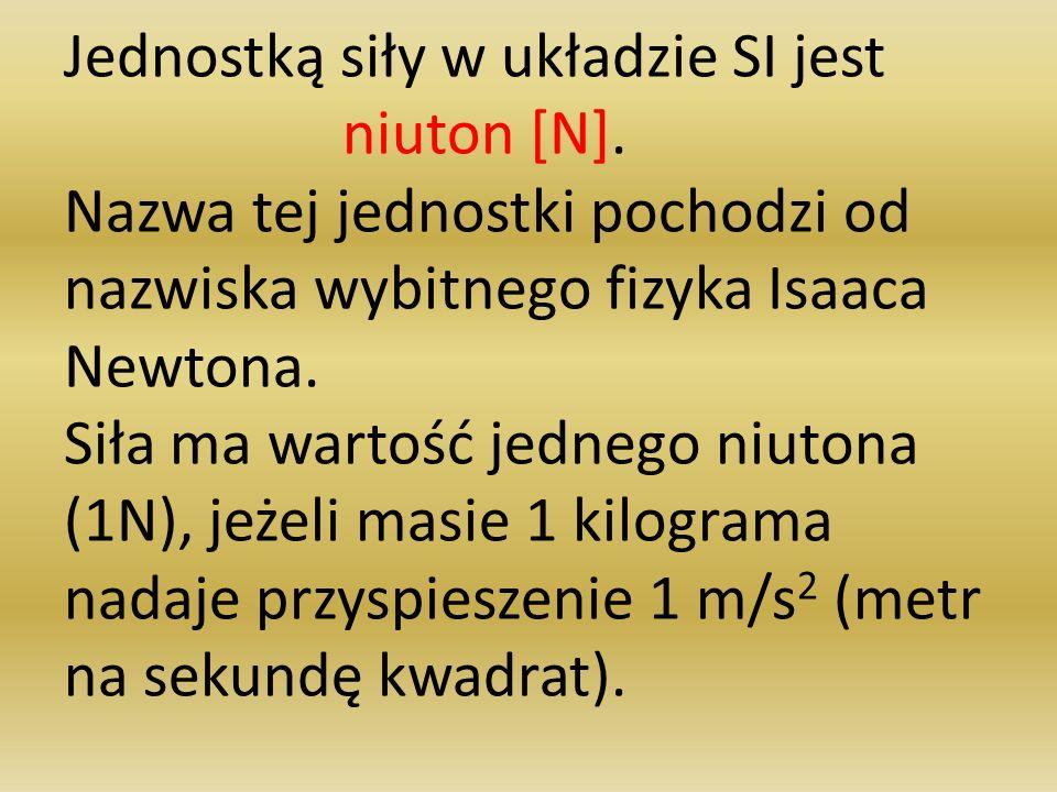 Jednostką siły w układzie SI jest niuton [N]